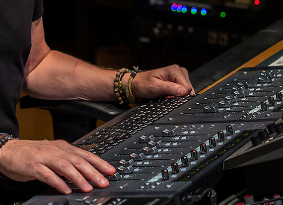 Luke working at the Neve console